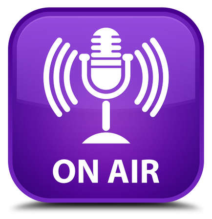 air show: On air (mic icon) purple square button Stock Photo