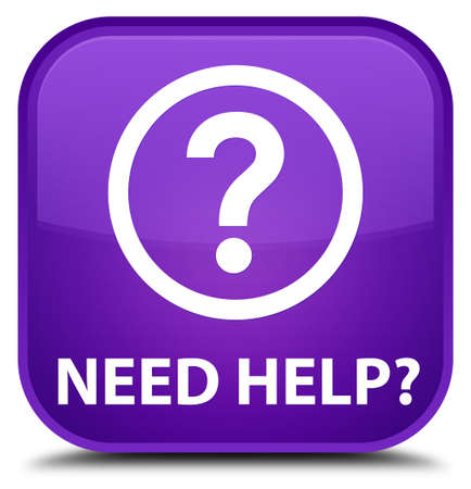 need help: Need help (question icon) purple square button Stock Photo