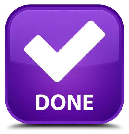 done: Done (validate icon) purple square button Stock Photo