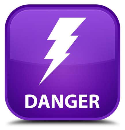 signos de precaucion: Peligro (icono de la electricidad) botón cuadrado púrpura