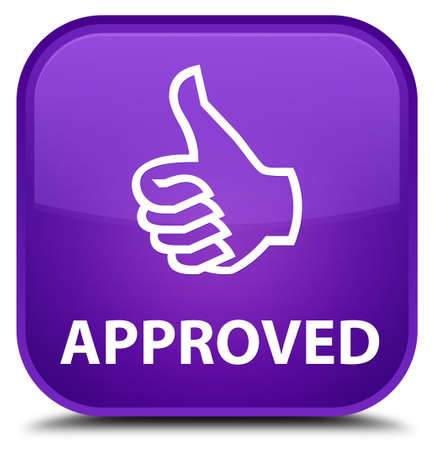 Approved (thumbs up icon) purple square button
