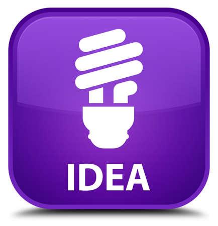 incandescence: Idea (bulb icon) purple square button Stock Photo