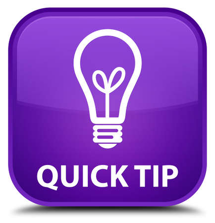 hints: Quick tip (bulb icon) purple square button Stock Photo