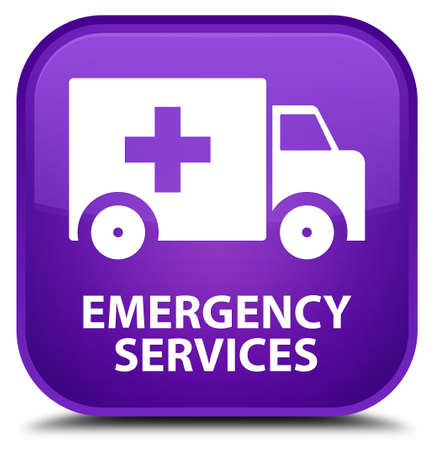 emergency services: Emergency services purple square button