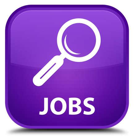 jobs: Jobs purple square button Stock Photo