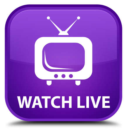 tv station: Watch live purple square button Stock Photo