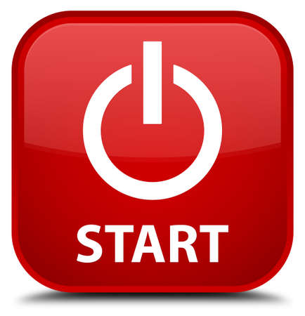 red sign: Start (power icon) red square button Stock Photo