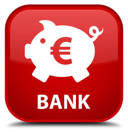 icon red: Bank (piggy box euro sign) red square button