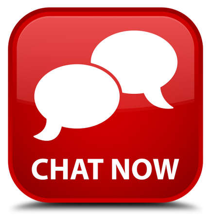 instant message: Chat now red square button Stock Photo