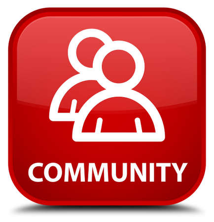 icon red: Community (group icon) red square button Stock Photo