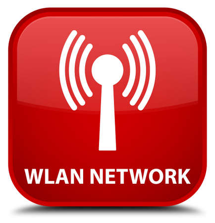 wlan: Wlan network red square button Stock Photo