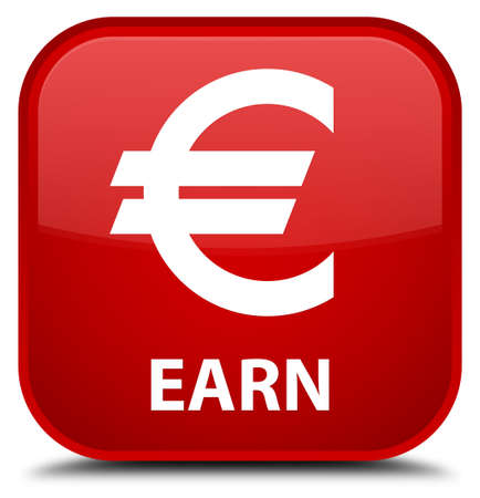 earn: Earn (euro sign) red square button
