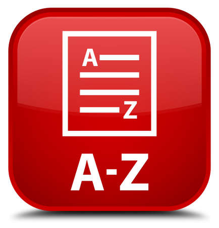 az: A-Z (list page icon) red square button Stock Photo