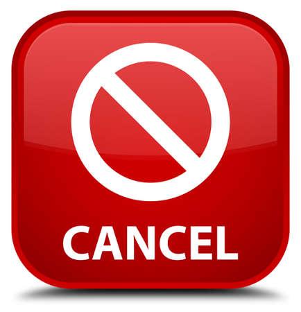 Cancel (prohibition sign icon) red square button