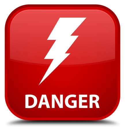 high voltage symbol: Danger (electricity icon) red square button