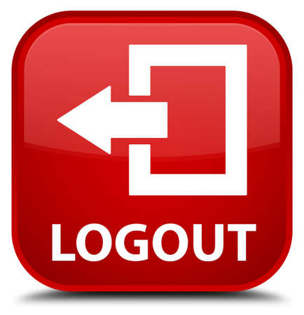 disconnect: Logout red square button Stock Photo