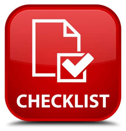 checklist: Checklist red square button Stock Photo