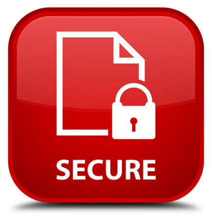 safeguard: Secure (document page padlock icon) red square button