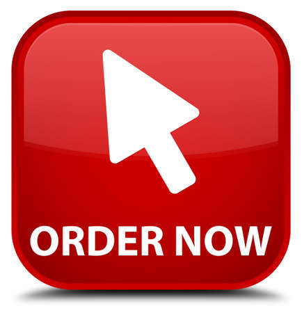 order: Order now (cursor icon) red square button Stock Photo