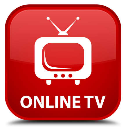 tv station: Online tv red square button
