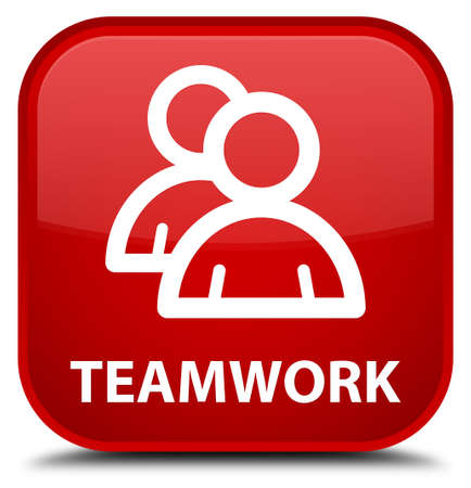 icon red: Teamwork (group icon) red square button
