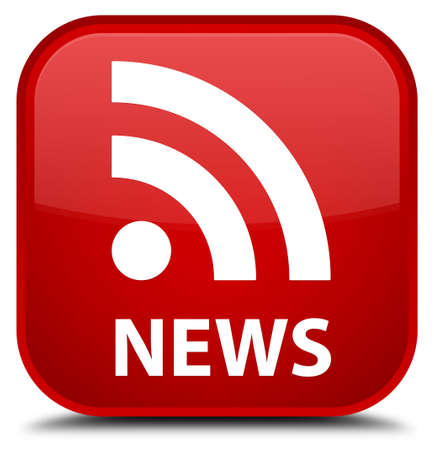 rss icon: News (RSS icon) red square button Stock Photo