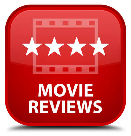 reviews: Movie reviews red square button Stock Photo
