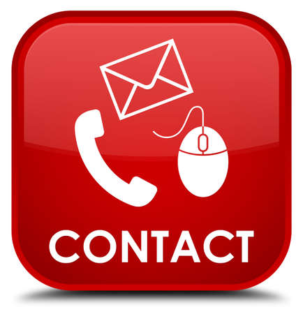 flysheet: Contact (phone, email and mouse icon) red square button Stock Photo
