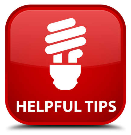 helpful: Helpful tips (bulb icon) red square button Stock Photo