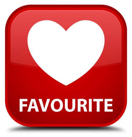 the favourite: Favourite (heart icon) red square button Stock Photo
