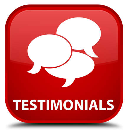 comments: Testimonials (comments icon) red square button Stock Photo