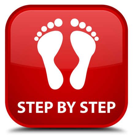 finger bones: Step by step (footprint icon) red square button