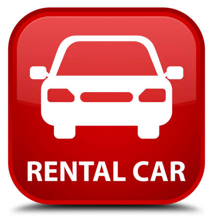rental: Rental car red square button Stock Photo