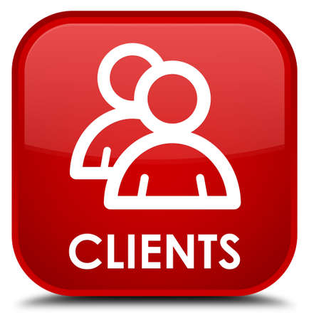 clientele: Clients (group icon) red square button Stock Photo
