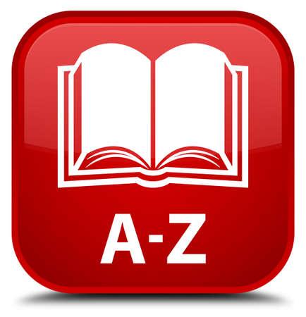 az: A-Z (book icon) red square button Stock Photo