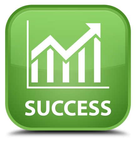 stat: Success (statistics icon) soft green square button Stock Photo
