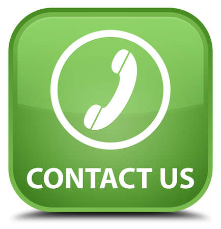 phone button: Contact us (phone icon round border) soft green square button
