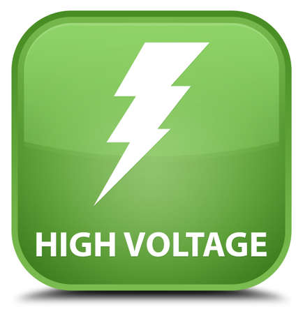 high voltage: High voltage (electricity icon) soft green square button Stock Photo
