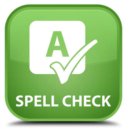 ok sign language: Spell check soft green square button