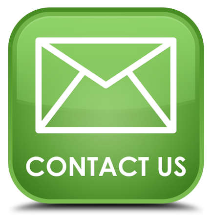 email contact: Contact us (email icon) soft green square button Stock Photo
