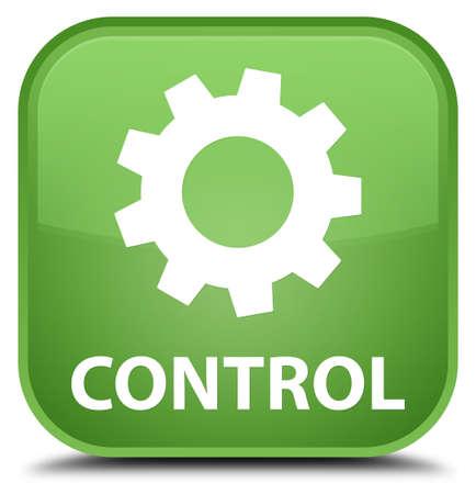 preference: Control (settings icon) soft green square button Stock Photo