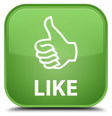 good deal: Like soft green square button Stock Photo