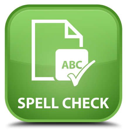spell: Spell check document soft green square button