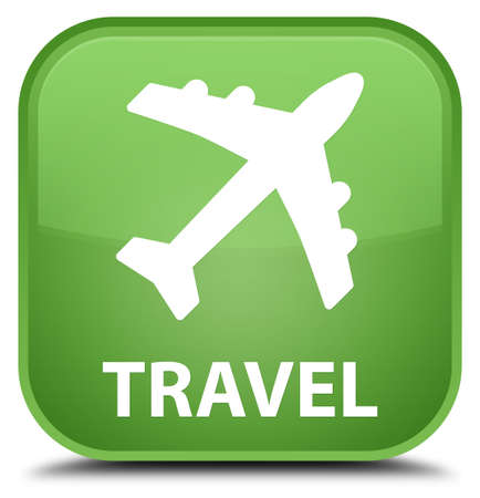 airway: Travel (plane icon) soft green square button