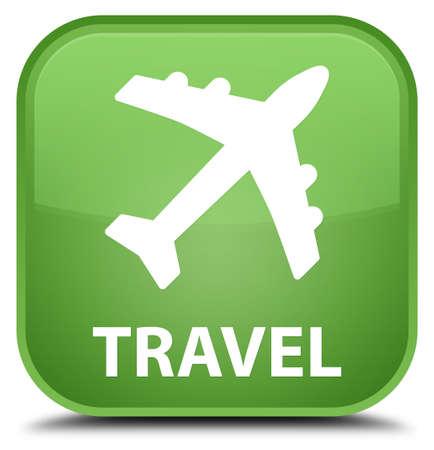 airway: Travel (plane icon) soft green square button