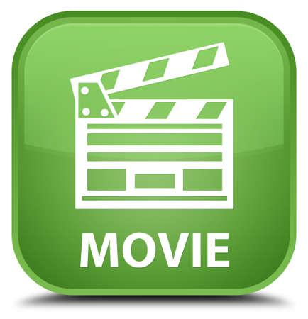Movie (cinema clip icon) soft green square button Banco de Imagens