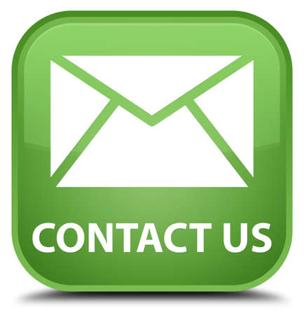flysheet: Contact us (email icon) soft green square button Stock Photo