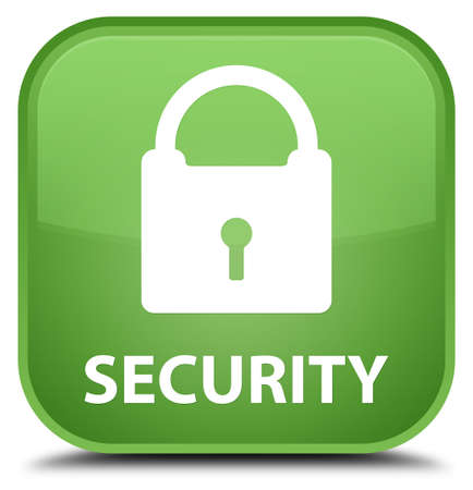 key hole shape: Security (padlock icon) soft green square button Stock Photo