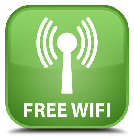 wlan: Free wifi (wlan network) soft green square button Stock Photo