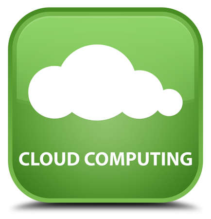 green computing: Cloud computing soft green square button Stock Photo